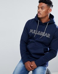 Pull And Bear Pullandbear Hoodie In Navy With Logo