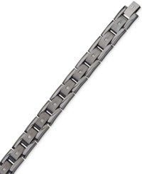 Esquire Men's Jewelry Diamond Bracelet 1 10 Ct. T.W. In Gunmetal Ip Over Stainless Steel First At Macy's