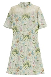Valentino Printed Silk Dress With Lace Multicolor