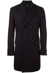 Hugo Boss Double Breasted Coat Blue