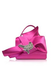 N 21 Fuchsia Satin Embroidered Crossbody Bag W Iconic Bow On Front
