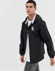 New Era Mlb La Dodgers Hooded Coach Jacket With Embroidered Logo In Black
