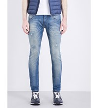 Armani Jeans Distressed Low Rise Skinny Lt Wash