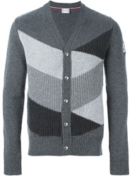 Moncler Gamme Bleu Colour Block Ribbed Cardigan Grey