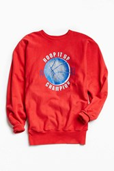 Urban Outfitters Vintage Champion Hoop It Up Crew Neck Sweatshirt Red