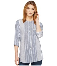 Vince Camuto Variegated Stripe Collarless Linen Shirt Ultra White Women's Long Sleeve Button Up