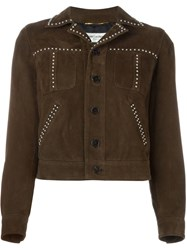 Saint Laurent Studded Western Jacket Brown