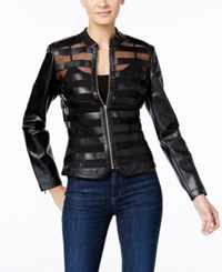 Inc International Concepts Faux Leather Mesh Peplum Jacket Only At Macy's Deep Black