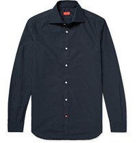 Isaia Slim Fit Pin Dot Cotton Poplin Shirt Midnight Blue