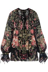 Roberto Cavalli Galaxy Lace Trimmed Printed Silk Georgette Blouse Black