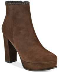 Marc Fisher Natasia Platform Block Heel Ankle Booties Women's Shoes Dark Brown