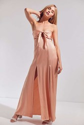 Roe May Millie Strapless Tie Front Maxi Dress Coral