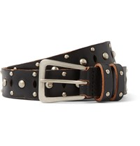 Saint Laurent 2.5Cm Black Studded Leather Belt Black