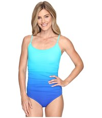 Speedo Ombre Shirred One Piece Peacock Blue Women's Swimsuits One Piece