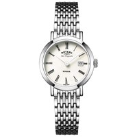 Rotary Lbb90153 07 Women's Les Originales Windsor Date Bracelet Strap Watch Silver White Mother Of Pearl