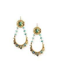 Devon Leigh Abalone And Turquoise Drop Earrings Gold
