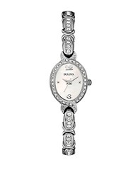 Bulova Ladies Stainless Steel And Crystal Bracelet Watch Silver