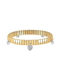 Nomination Yellow Gold Pvd Stainless Steel Women's Bracelet W Heart Charms And Cubic Zirconia