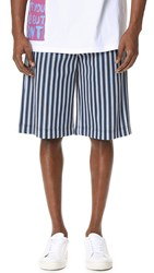 Msgm Striped Elastic Waist Shorts Blue