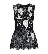 Oscar De La Renta Embellished Guipure Lace Peplum Top Female Black