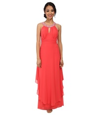 Alejandra Sky Nessa Rhinestone Collar Gown Coral Women's Dress