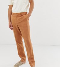Noak Slim Fit Suit Trousers In Camel Linen Blue