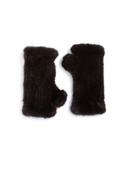 Surell Fingerless Mink Gloves Brown
