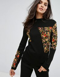 Warehouse Floral Patchwork Jumper Black