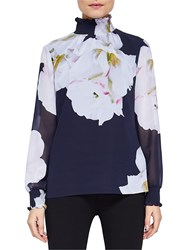 Ted Baker Gardenia High Neck Blouse Dark Blue