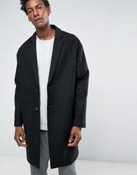 Asos Wool Mix Overcoat With Drop Shoulder In Black Black