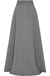 Rosie Assoulin Houndstooth Wool Blend Maxi Skirt Black