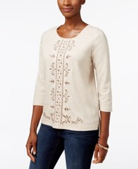 Alfred Dunner Embroidered High Low Sweater Fawn