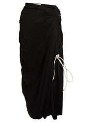 Marni Pleated Drawstring Midi Skirt Black