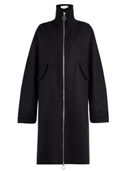 Marques Almeida High Neck Wool Blend Coat Navy