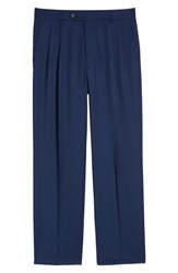 Ballin Pleated Solid Wool Trousers Mariner