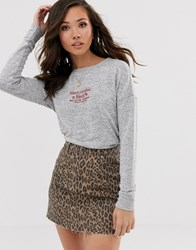 Abercrombie And Fitch Cosy Logo Top In Grey