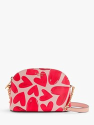 Kate Spade New York Sylvia Leather Small Dome Cross Body Bag Hearts Pink