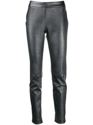 Fabiana Filippi High Shine Slim Fit Trousers Grey