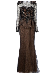 Zuhair Murad Embellished Lace Peplum Gown Black