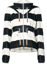 Derek Lam Striped Jacket Women Cotton Linen Flax 42 White