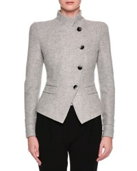 Giorgio Armani Heathered Asymmetric Button Front Jacket Light Gray