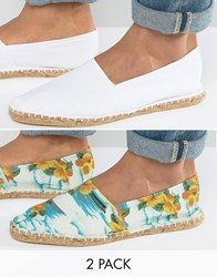Asos Canvas Espadrilles In White And Hawaiian Floral 2 Pack Save Multi