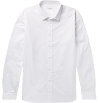 Vetements Brioni Oversized Frayed Cotton Jacquard Shirt White