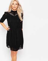Oasis Victoriana Embellished Dress Black