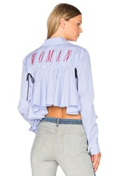 Off White Back Ruffle Striped Shirt Red