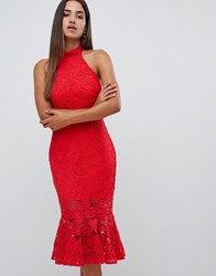 Love Triangle All Over High Neck Cut Work Lace High Neck Dress With Scallop Back In Red
