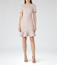 Reiss Hazel Womens Textured Fit And Flare Dress In Grey