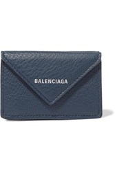 Balenciaga Papier Mini Printed Textured Leather Wallet Blue