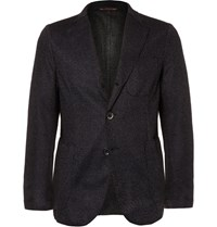 Barena Navy Slim Fit Unstructured Wool And Cashmere Blend Blazer Blue