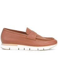 Santoni Chunky Sole Penny Loafers Men Leather Rubber 5 Brown